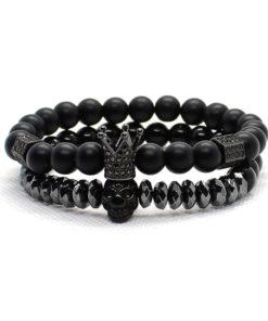 Hommes bracelet Couronne crâne squelette perles collier bracelet FR